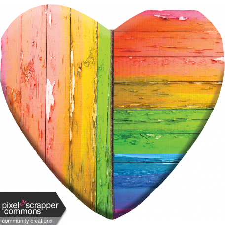 Large Wooden Heart - Broken, Faded, Peeling Rainbow Paint