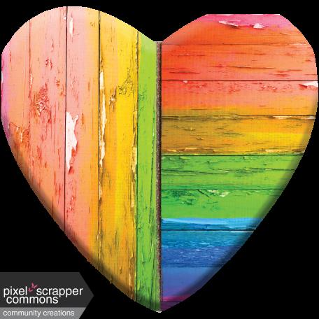Large Wooden Heart - Broken, Faded, Peeling Rainbow Paint