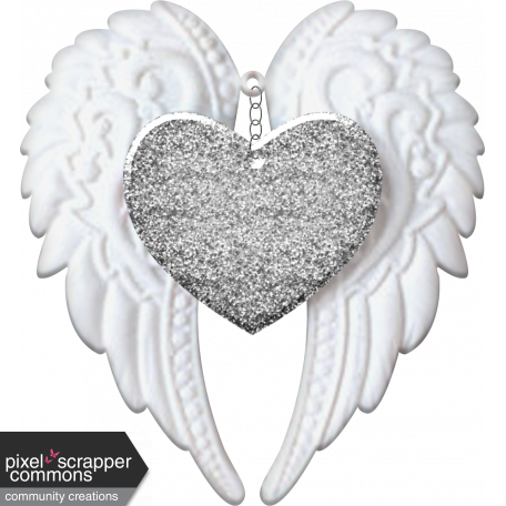Baby Angel Wings Heart Silver Glitter Graphic By Kayl Turesson