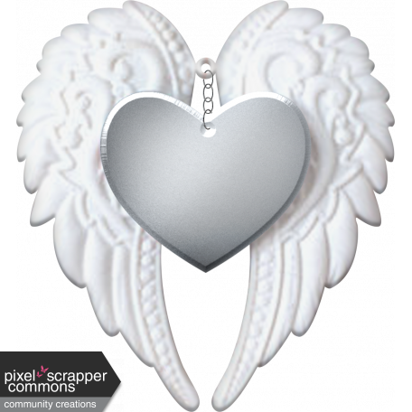 Baby Angel Wings Heart Silver Graphic By Kayl Turesson Pixel