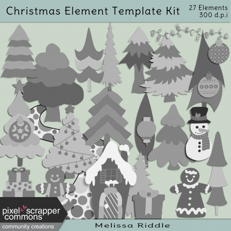 Christmas Layered Element Template Kit