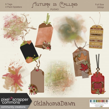 Autumn is Calling - tags & paint splatters
