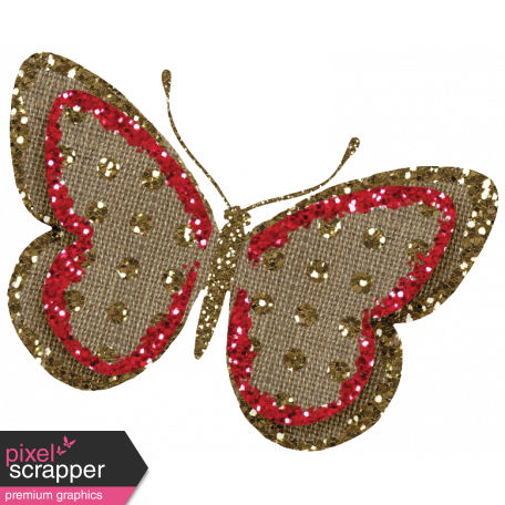 Sweet Valentine - Red Glitter Burlap Butterfly