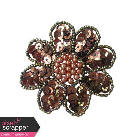 Brown Sequin Flower