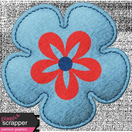 Challenged Felt Flower - Blue & Red