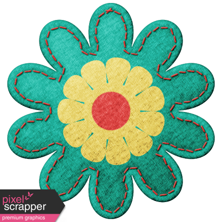 Challenged Felt Flower - Green & Yellow