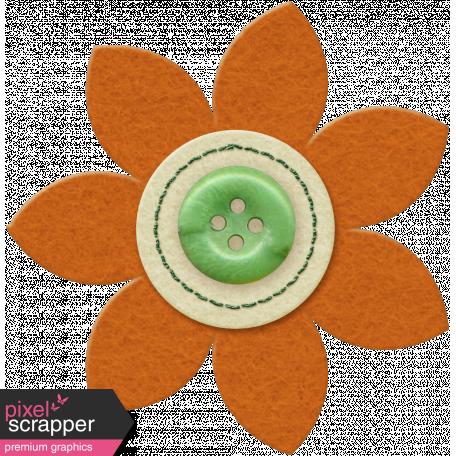 Taiwan Felt Flower 01j - Orange & Green