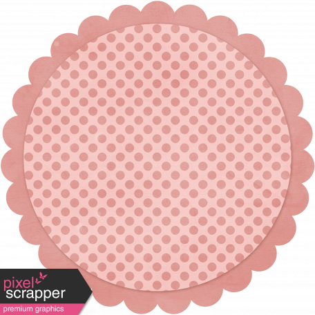 Pink Polka Dot Circle Scalloped Mat