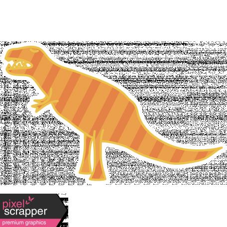 Dinosaurs Sticker - T Rex - Orange & Striped