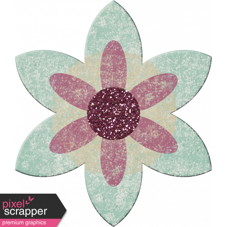 Malaysia Chipboard Flower 03 - Blue & Purple