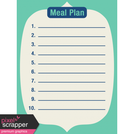 Thanksgiving Journal Card - Meal Plan