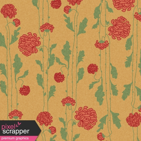 Floral 44 Paper - Red, Green & Tan
