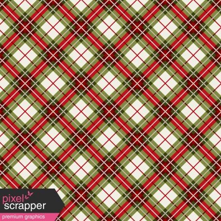 Winter Plaid - Green & Red Plaid Paper - Diagonal