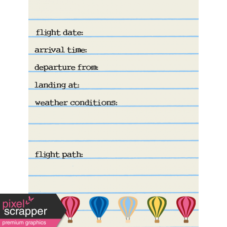 Hot Air Balloon - Journal Card