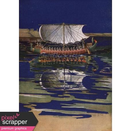 Egypt Illustration - Sail Barge