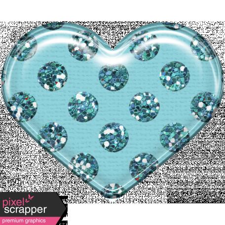 Plastic Glitter Heart - Aqua