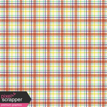 Plaid Paper 15 - Coral & White