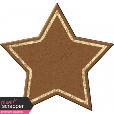 Painted Chipboard Star - Brown & Cream