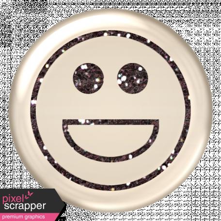 Emoticon Glitter Brad - Gray
