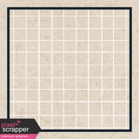 Square Grid Tag - Tan & Navy