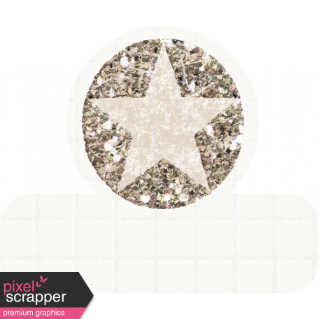 Glitter Star Tab - White & Tan