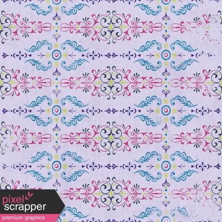 Damask 06 Paper - Purple, Blue & Pink
