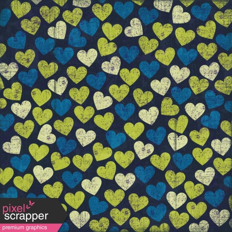 Hearts 12 Paper - Green & Blue