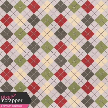 Argyle 02 Paper - Green & Red