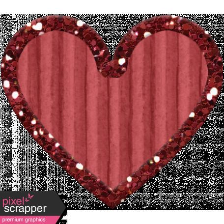 Cardboard Glitter Heart - Red - Small