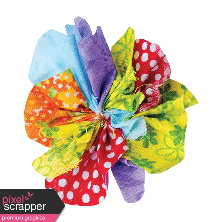 It's Elementary, My Dear - Multi-Color Fabric Flower 03