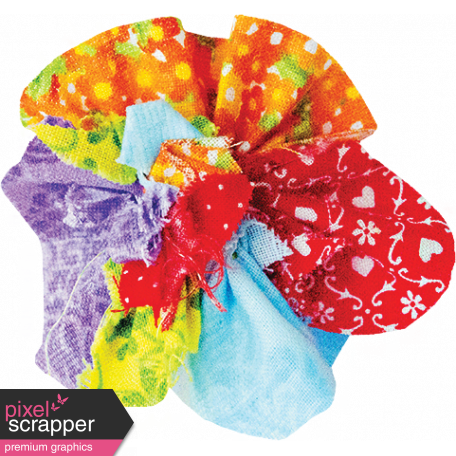 It's Elementary, My Dear - Multi-Color Fabric Flower 02