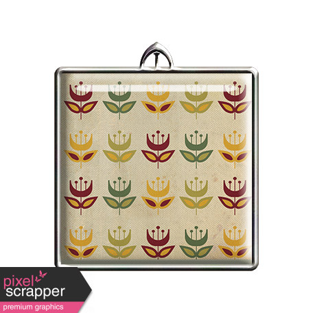 Square Retro Floral Pendant