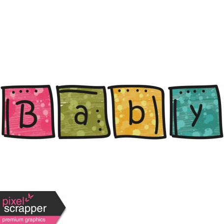 Tiny, But Mighty - Baby Blocks Word Art Doodle