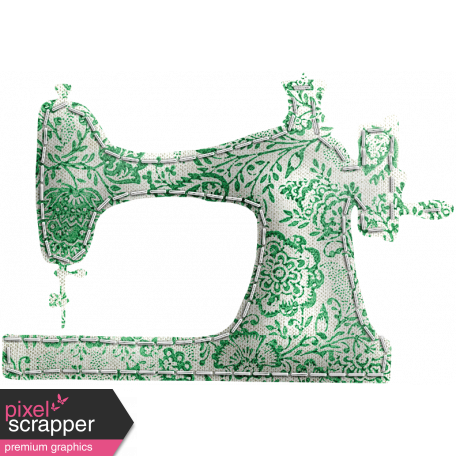 Quilted With Love - Quilted Green Floral Sewing Machine