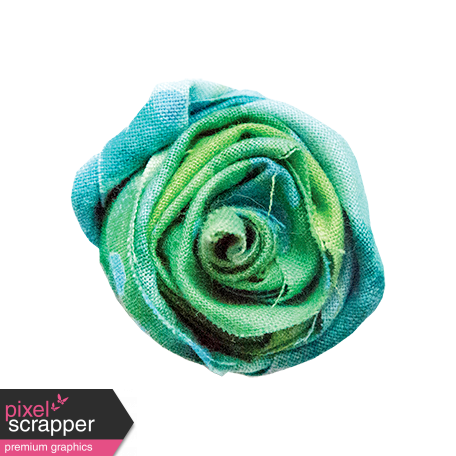 Blue Green Fabric Rolled Rose