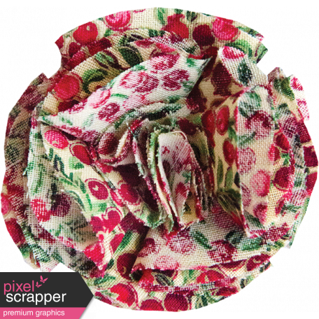 Red and Green Fabric Flower