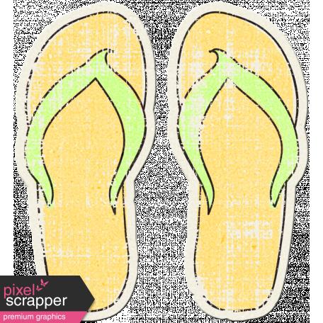Tropics Sticker Flip Flops Yellow