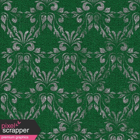 Touch of Sparkle Christmas Paper Damask Green
