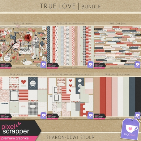digital scrapbooking bundle dedicated to true love