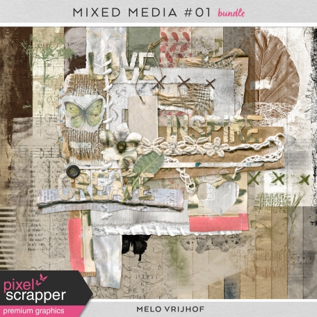mixed media digital scrapbooking bundle by melo