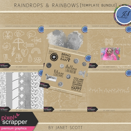 Raindrops & Rainbows - Template Bundle