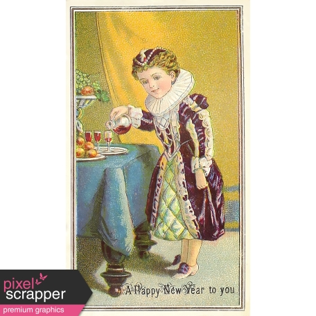 vintage new years cards elizabethan girl