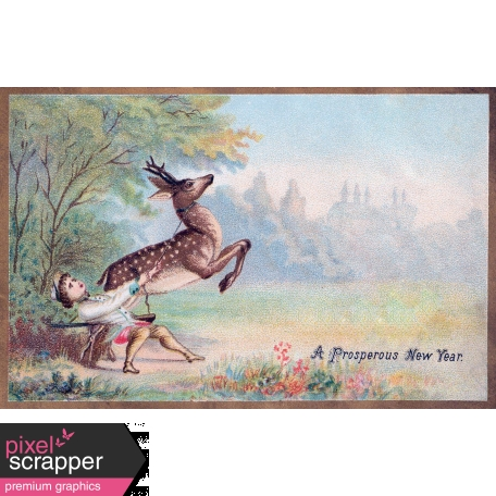 vintage new year cards deer