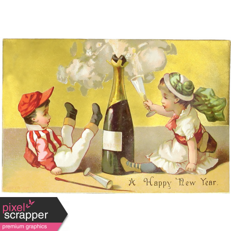 vintage new years cards champagne tots
