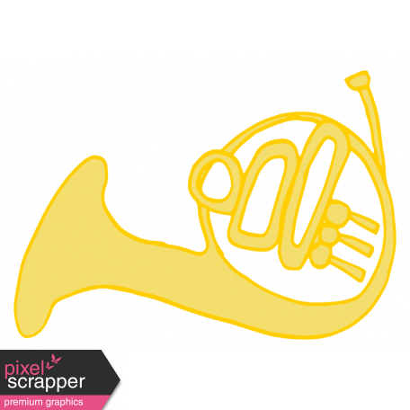 Art School Music Doodle French Horn