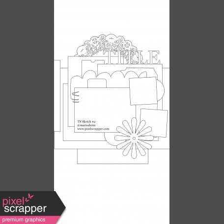 Travelers Notebook Layout Templates - Kit #1 - Template 01B Sketch