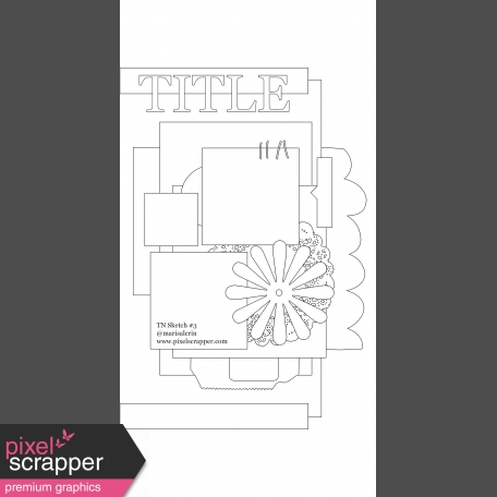 Travelers Notebook Layout Templates - Kit #1 - Template 01C Sketch