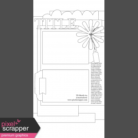 Travelers Notebook Layout Templates - Kit #1 - Template 01D Sketch