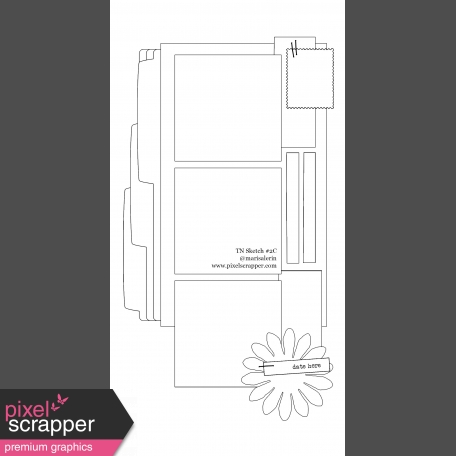 Travelers Notebook Layout Templates Kit #2: Sketch 2c