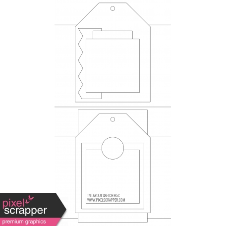 Travelers Notebook Layout Templates Kit #5 - layout template 5c sketch